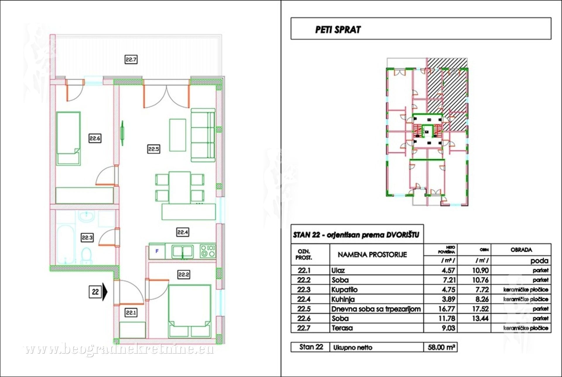 Stan 2 5 58m2 V novogradnja 69600 povraćaj PDVa